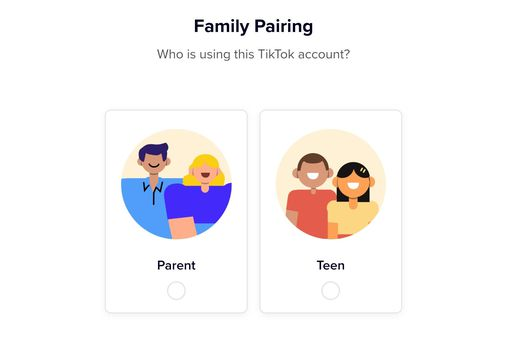 TikTok Family Pairing screen