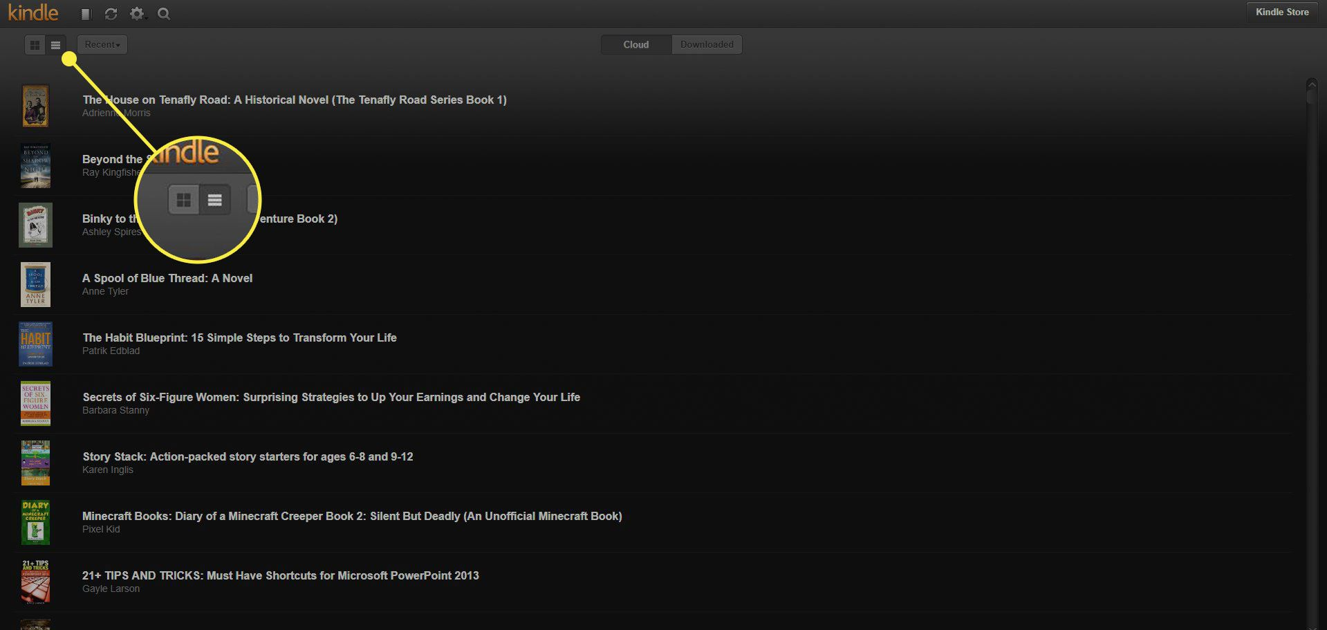 The Grid and List View buttons in Kindle Cloud Reader