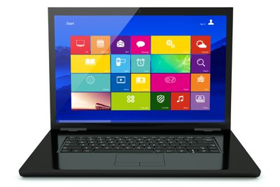 Open black laptop with
