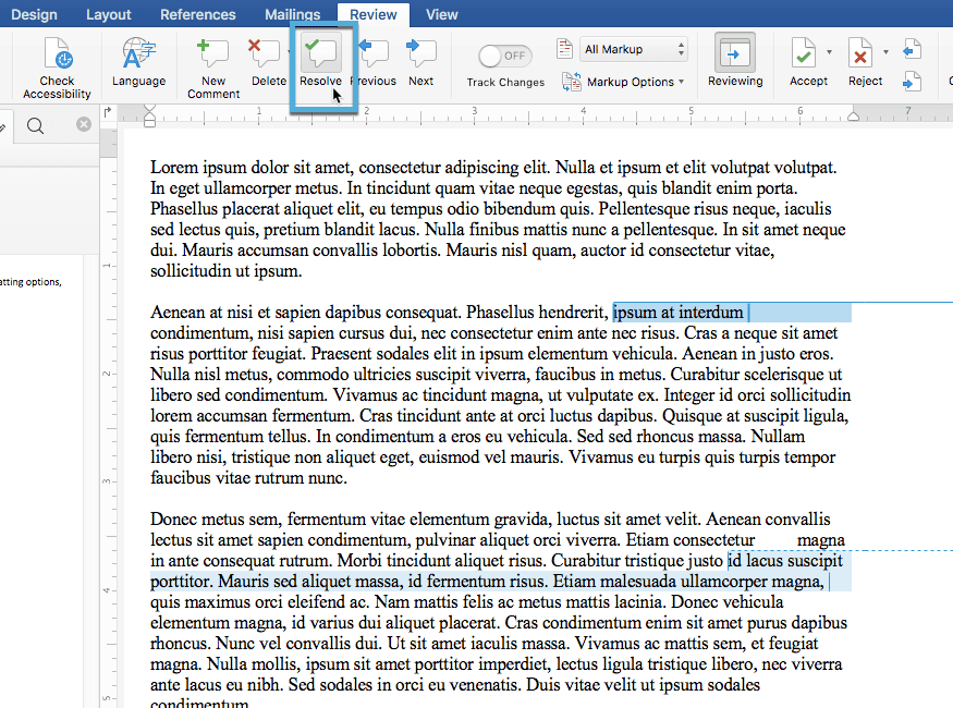 Resolving comments in Word from the Review tab of the ribbon