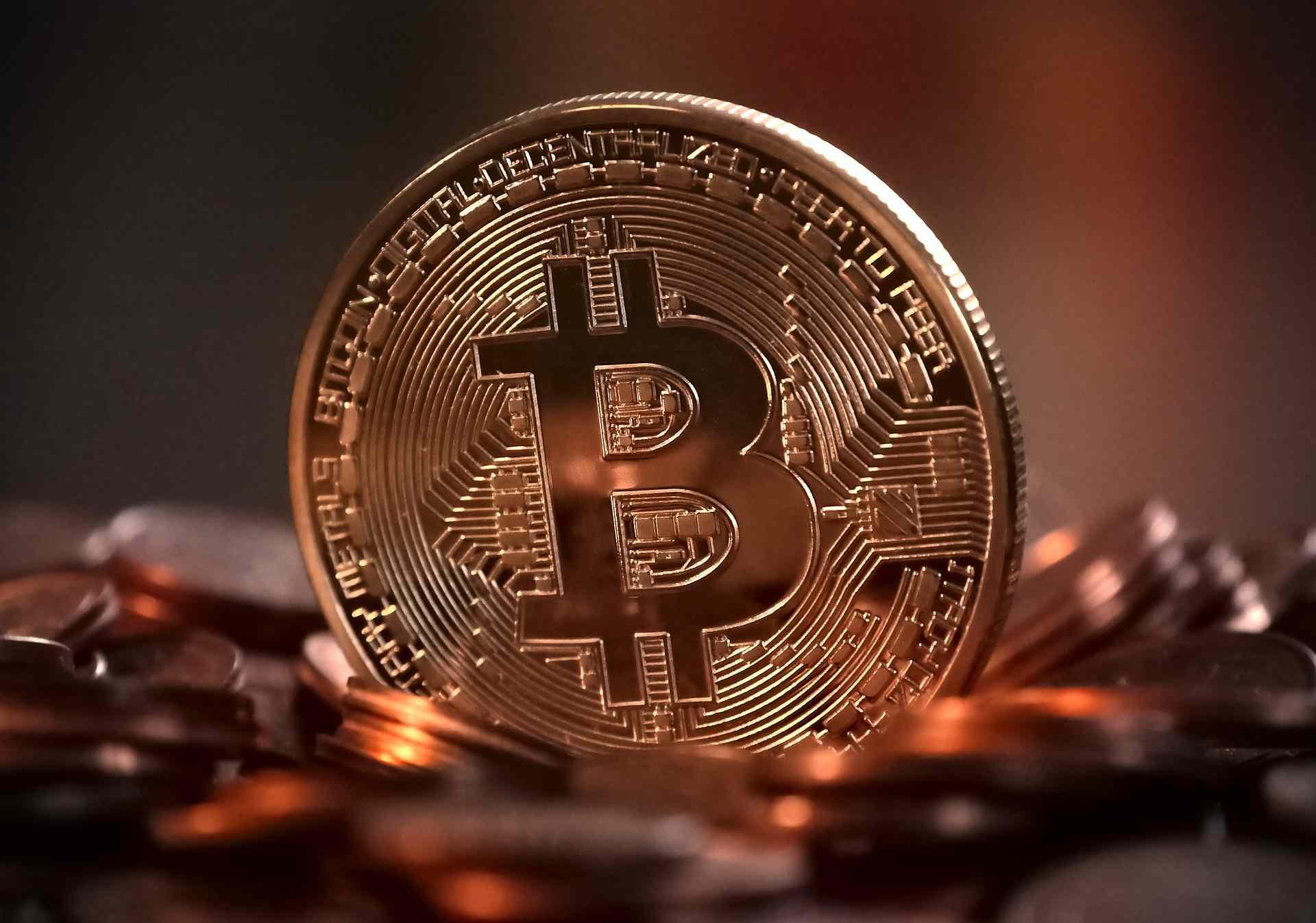 Bitcoin representation in copper coin