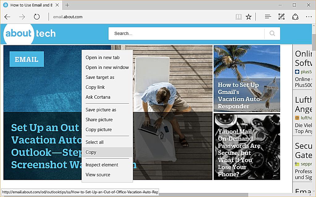 copying an image url in microsoft edge
