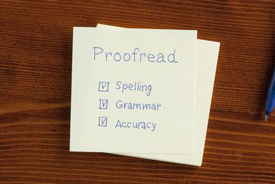 Proofreading checklist on a card