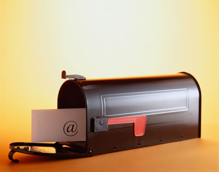 Mail box with an envelope inside of it with an @ (ampersand) on it