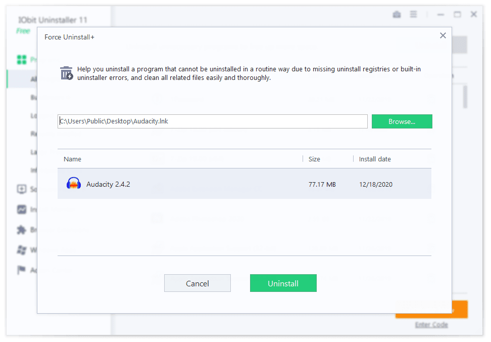 IObit Uninstaller Force Uninstall Option