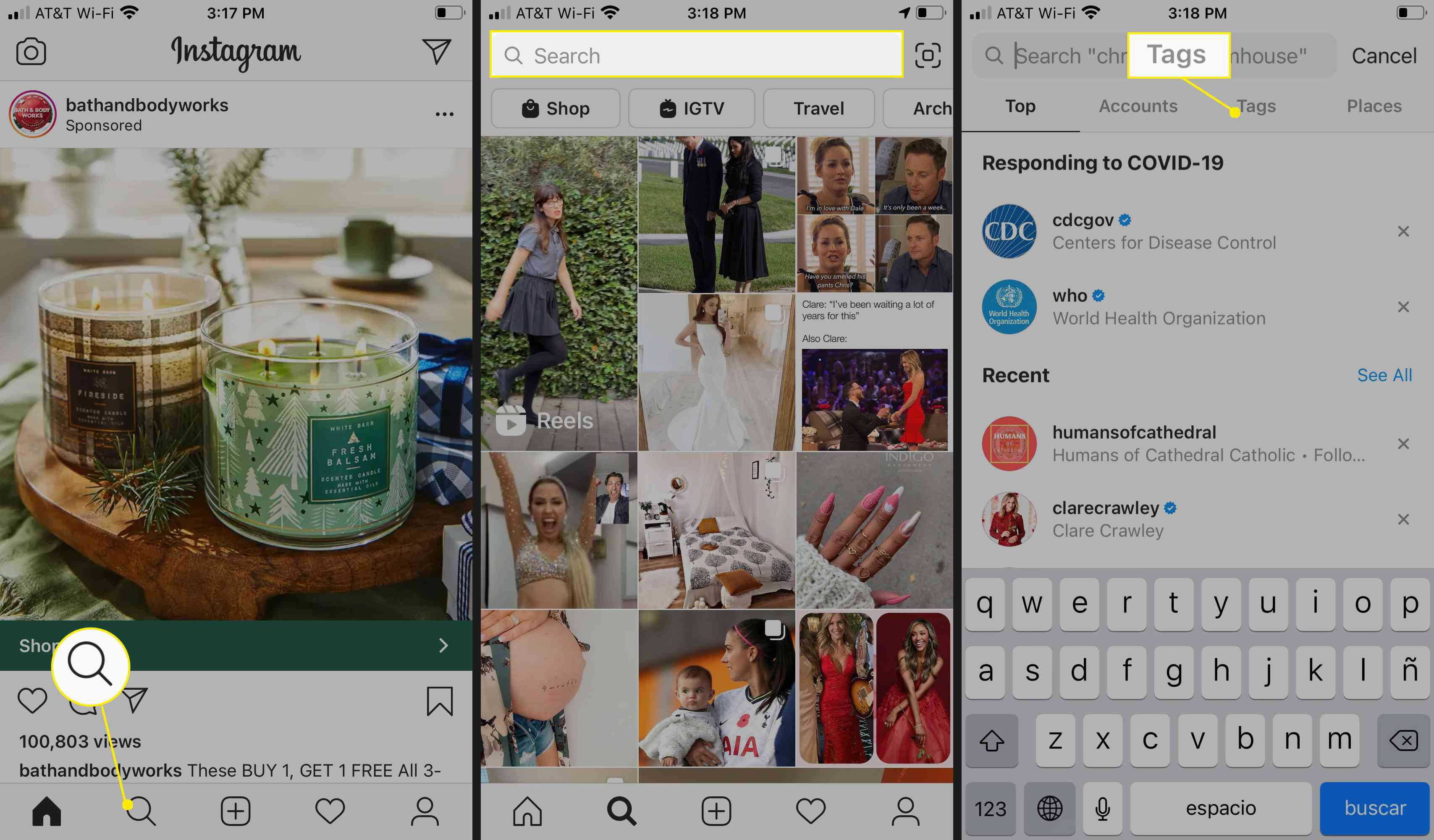 Search for hashtags on Instagram's Explore page