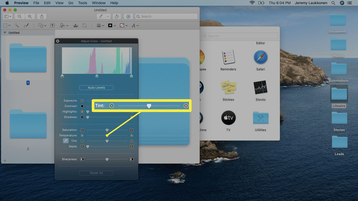 A screenshot of Tint slider in Preview app on macOS.