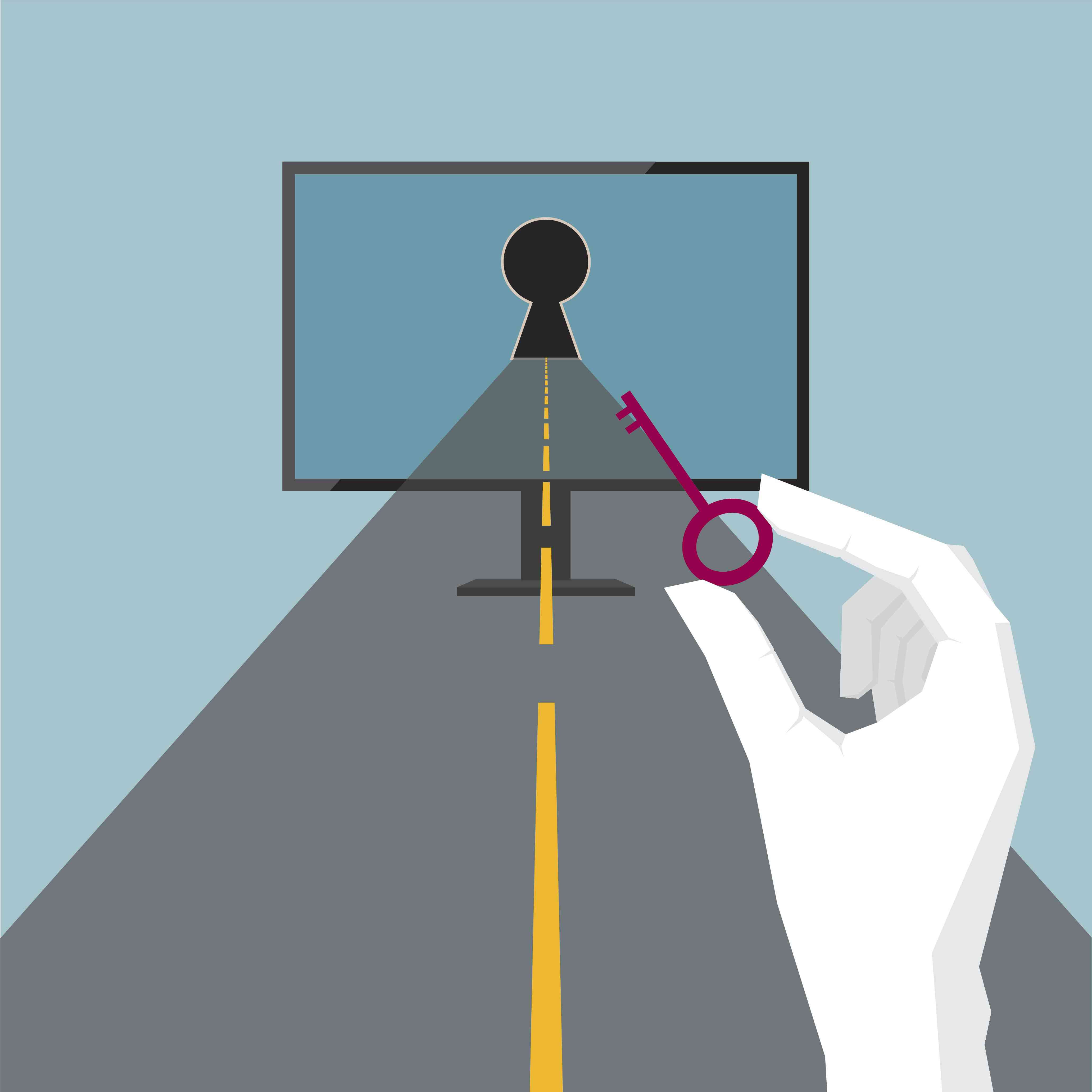 Road leading to the computer network with hand holding a key