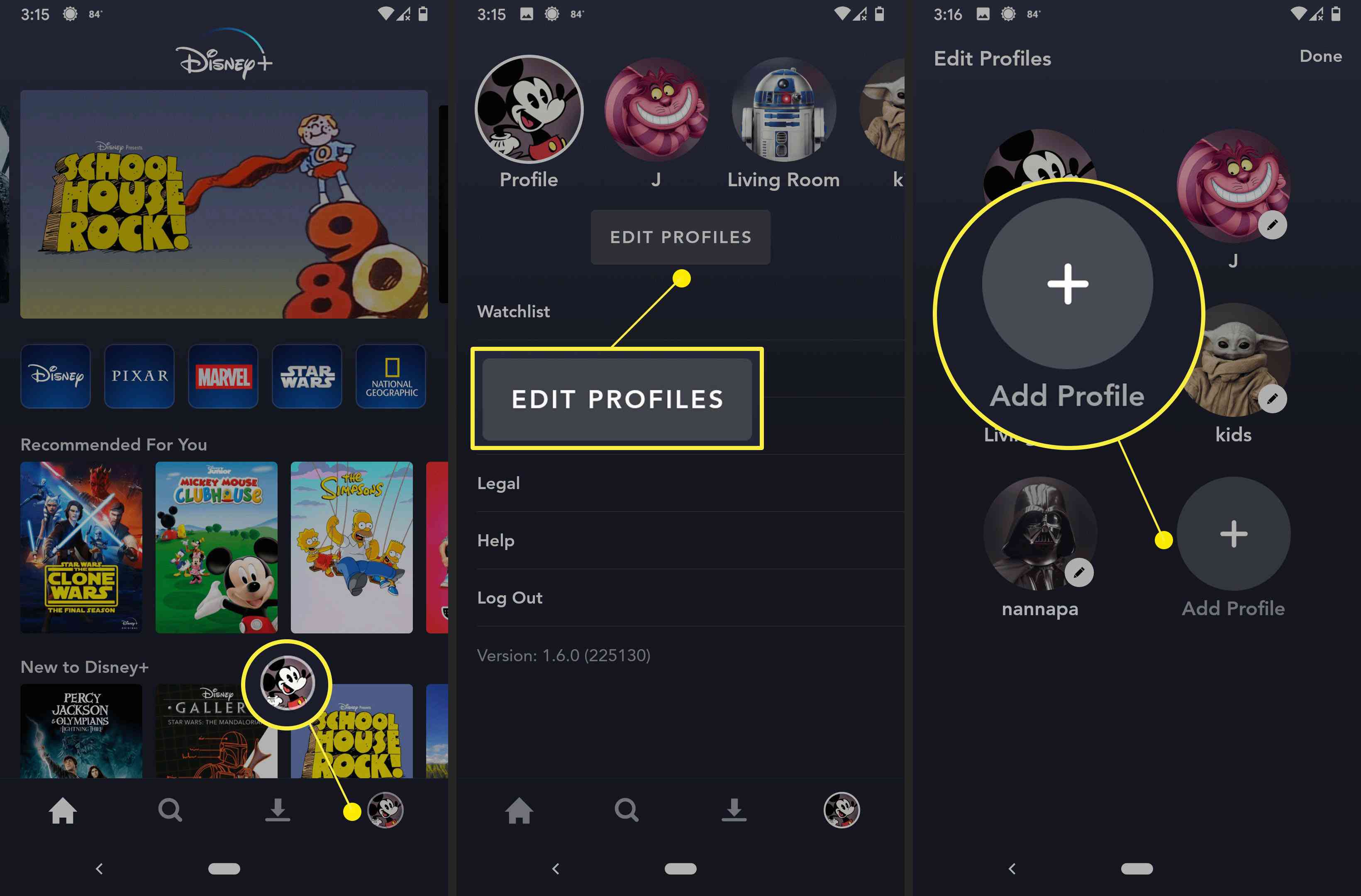 How to find profiles on the Disney+ App.