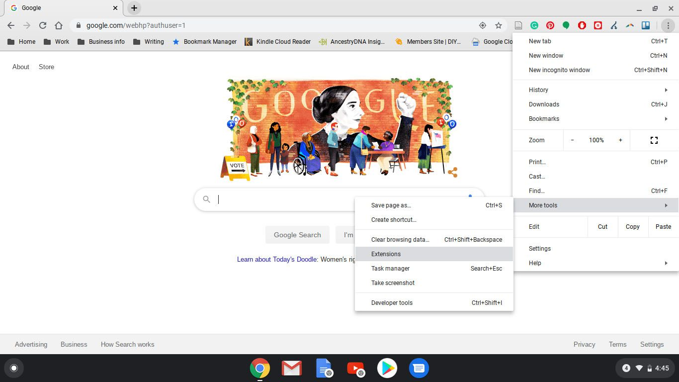Selecting Extensions in Google Chrome.