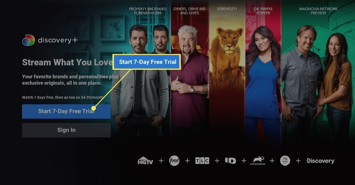 Seven day trial option for Discovery Plus on Roku.