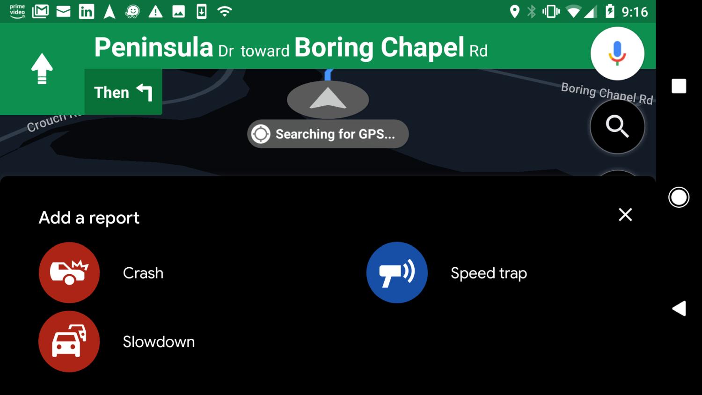 Screenshot of Google Maps user reports