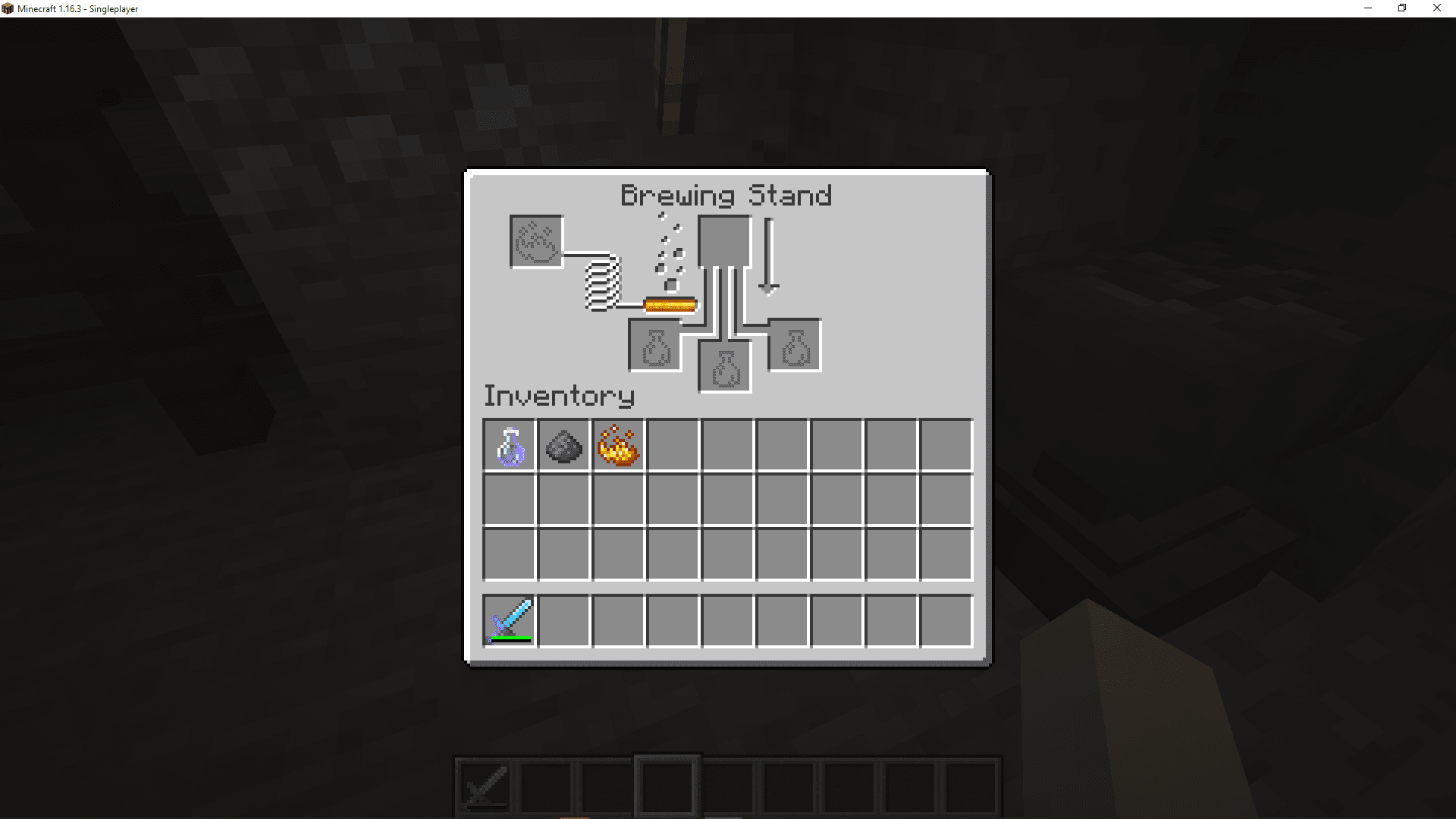 A screenshot of the brewing interface in Minecraft.