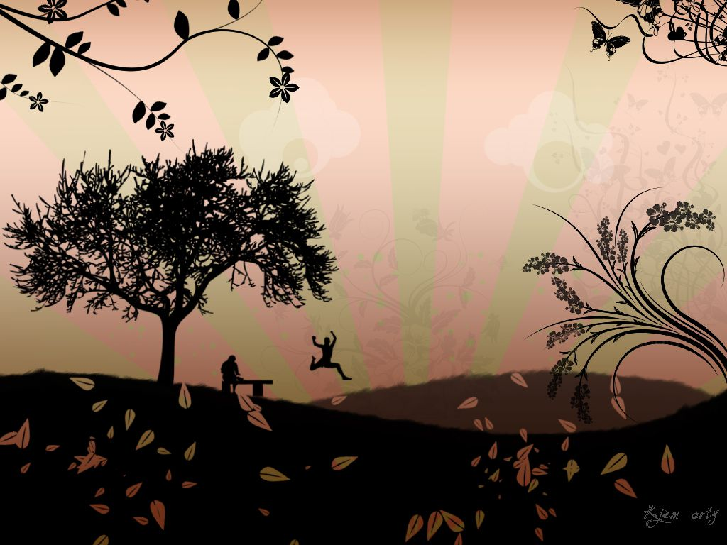 Free fall wallpaper featuring an illustrated fall scene.