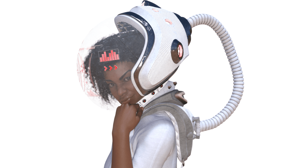 3D model of a woman in a space suit