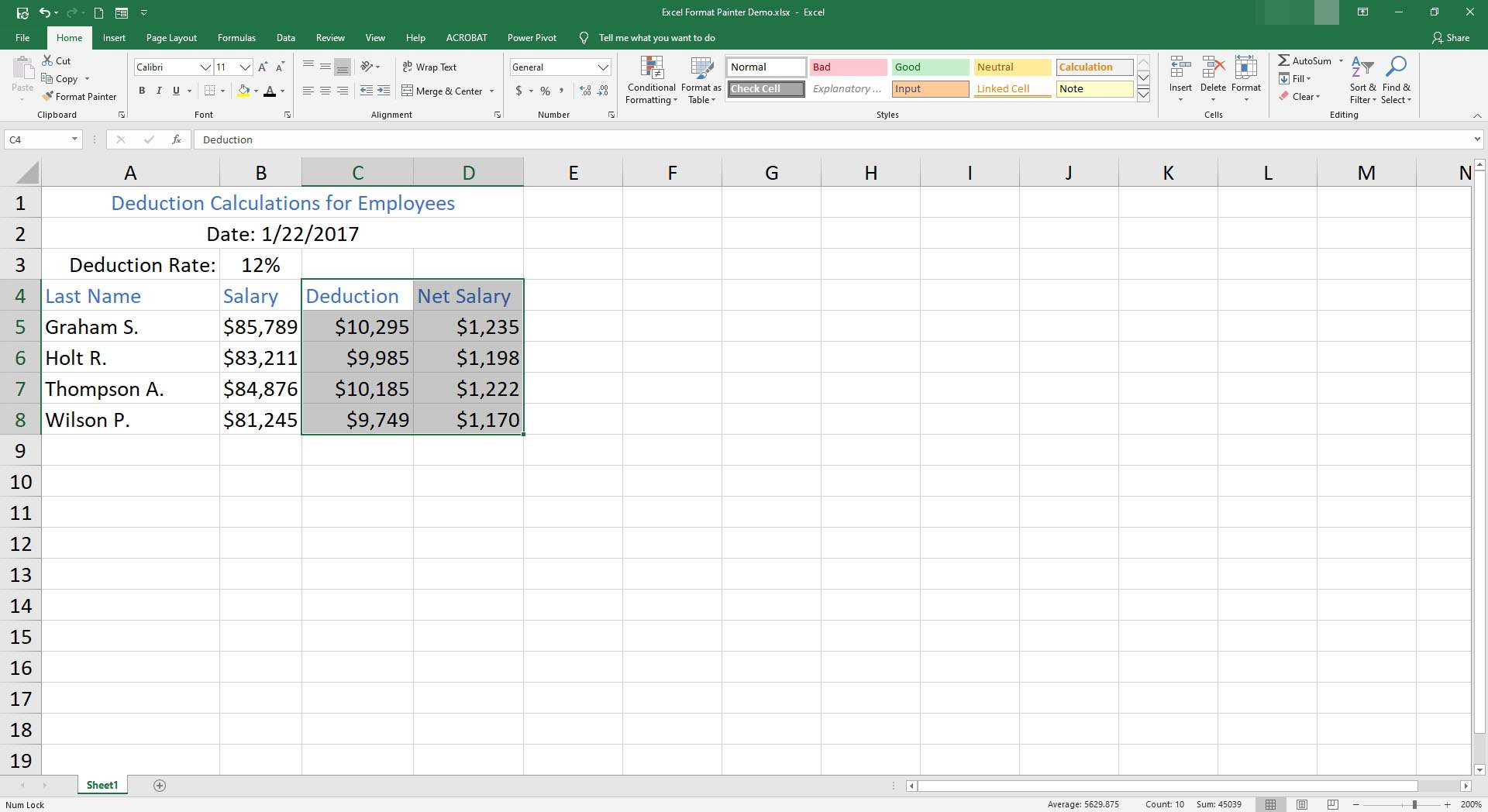 The finished product of format painter in Excel.