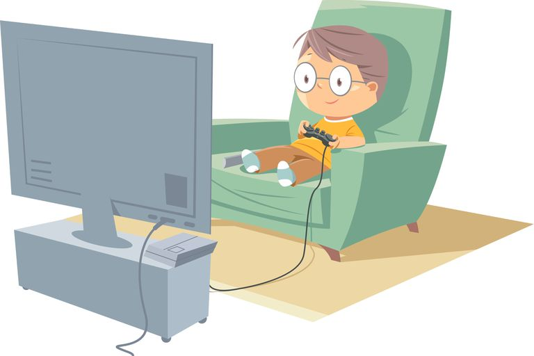Cartoon boy gamer playing games