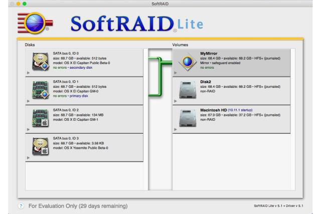 SoftRAID Lite interface showing tiles and connections