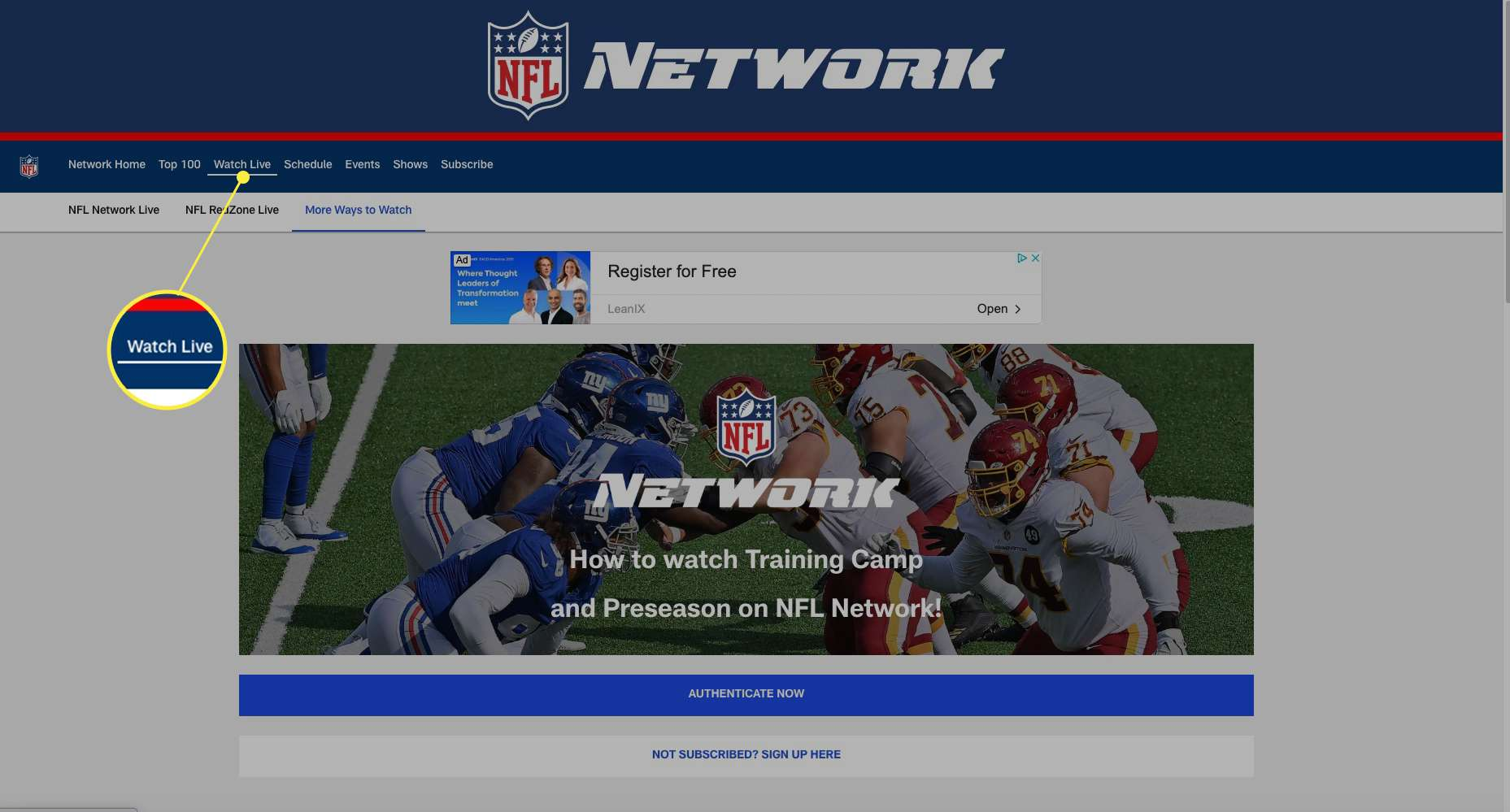 NFL Network website with Watch Live highlighted