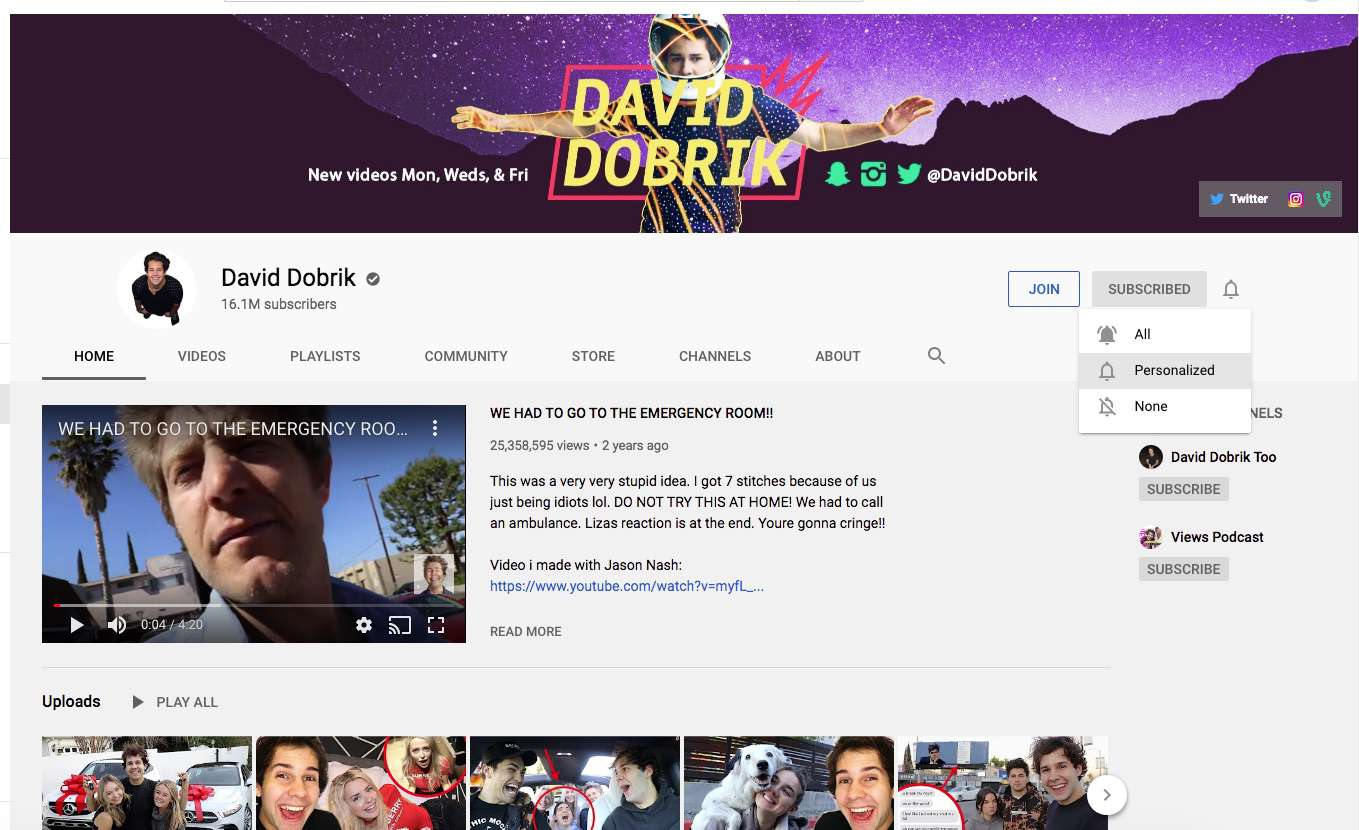 Personalizing notifications from a YouTube channel