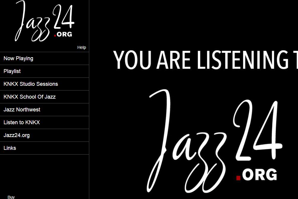 Screenshot of the Jazz24 online radio station
