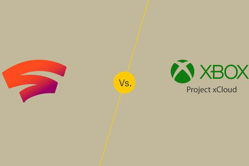 Google Stadia and Project xCloud logos on solid background
