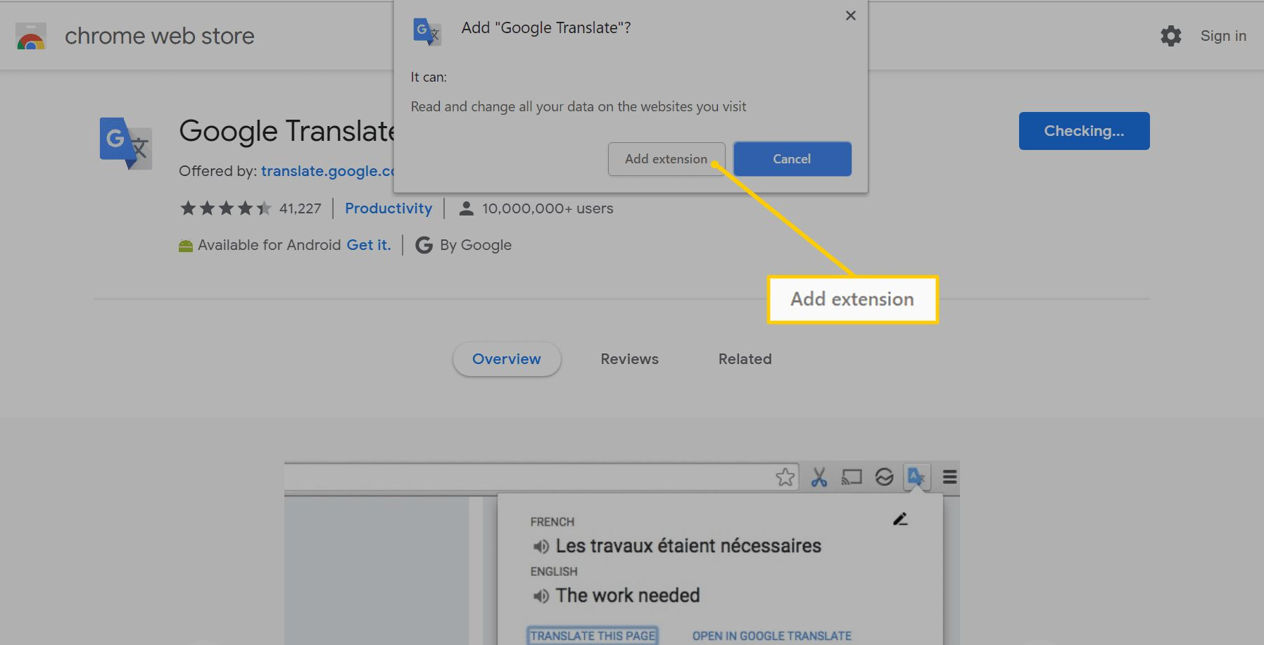 Add extension button in Chrome web store