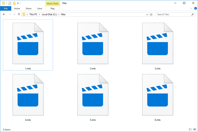 Screenshot of several MTS files in Windows 10