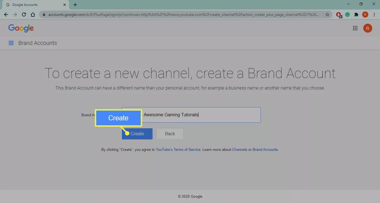 Create on the Youtube.com brand account setup page