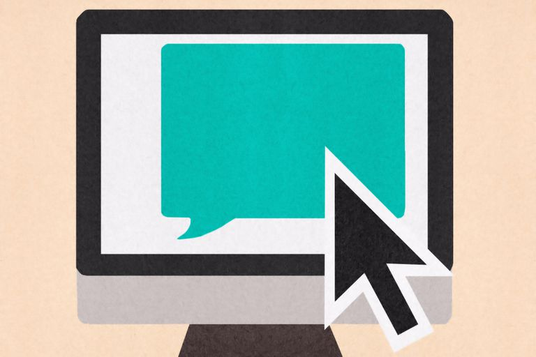 Large cursor over speech bubble on computer monitor - illustration