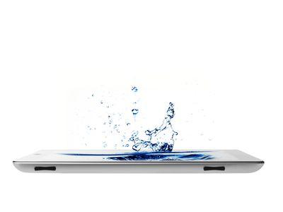 Water splashing out of a iPad screen