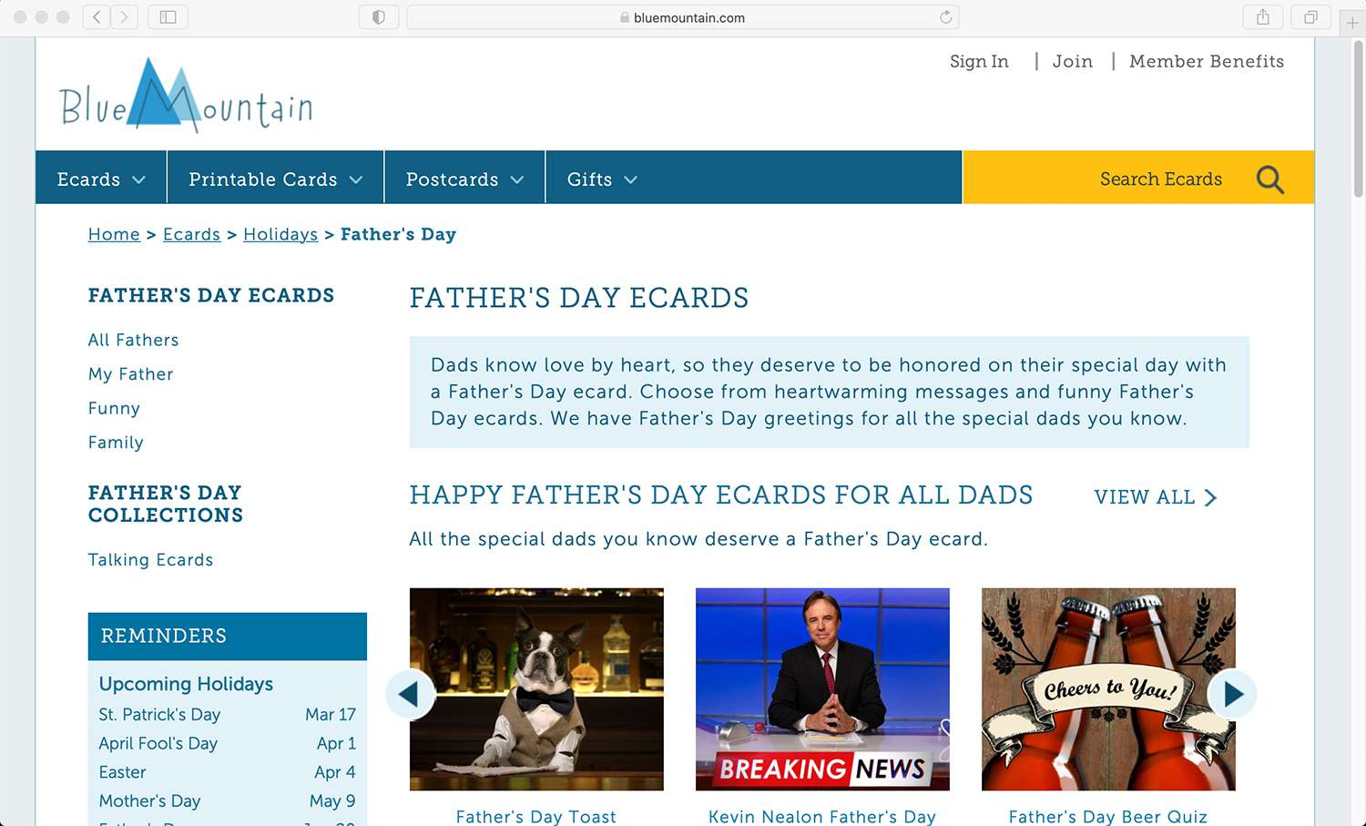 Blue Mountain e-cards for Father's Day and other special days