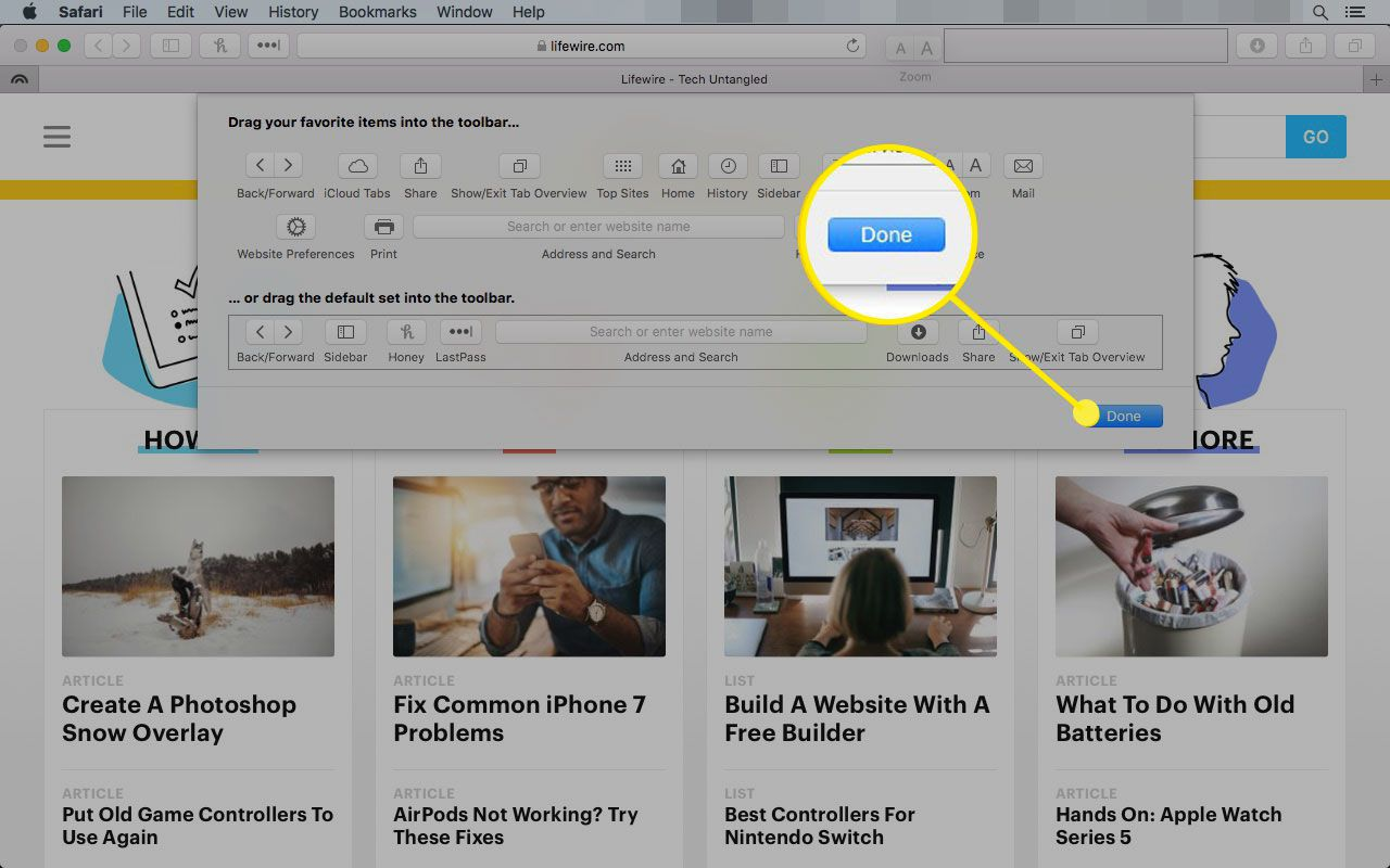 Customize Toolbar window in Safari with the Done button highlighted