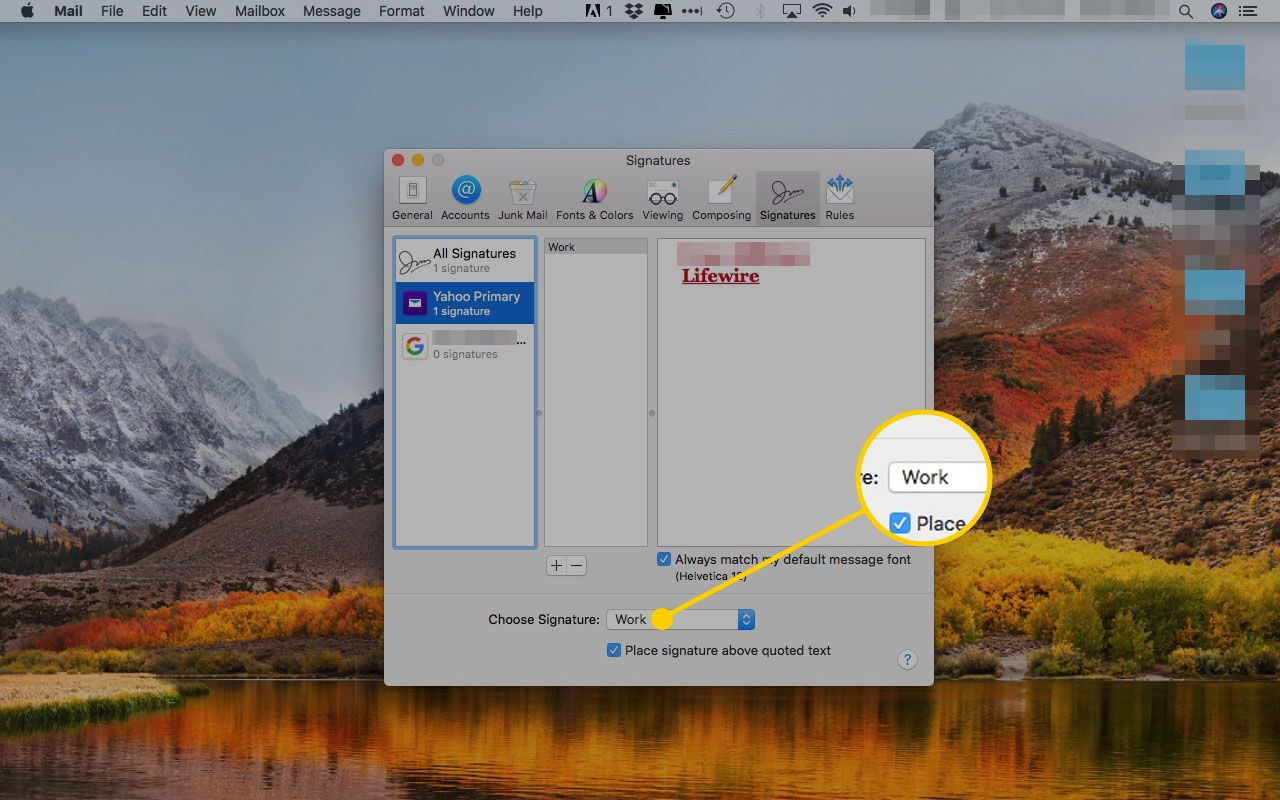 The Signatures tab of Apple Mail preferences with the