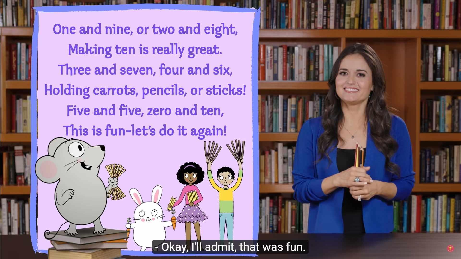 Danica McKellar is holding pencils demonstrating ways to make 10