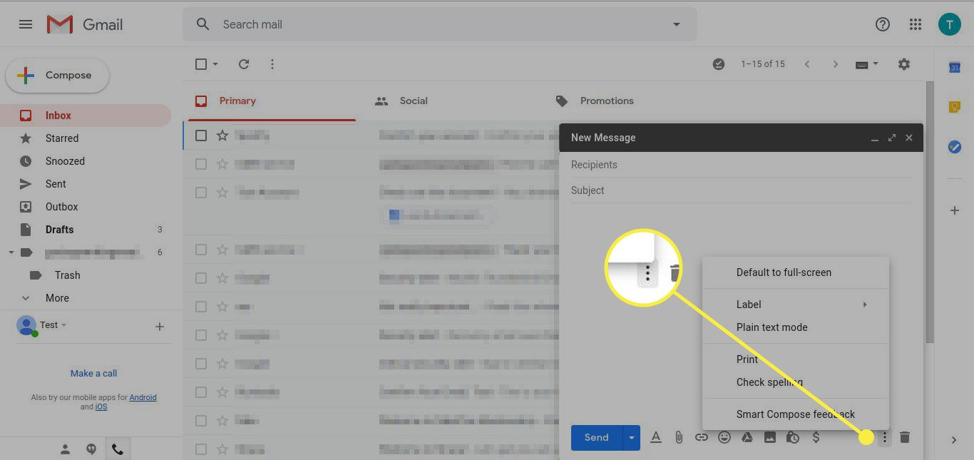 A screenshot of a new message in Gmail with the More menu highlighted