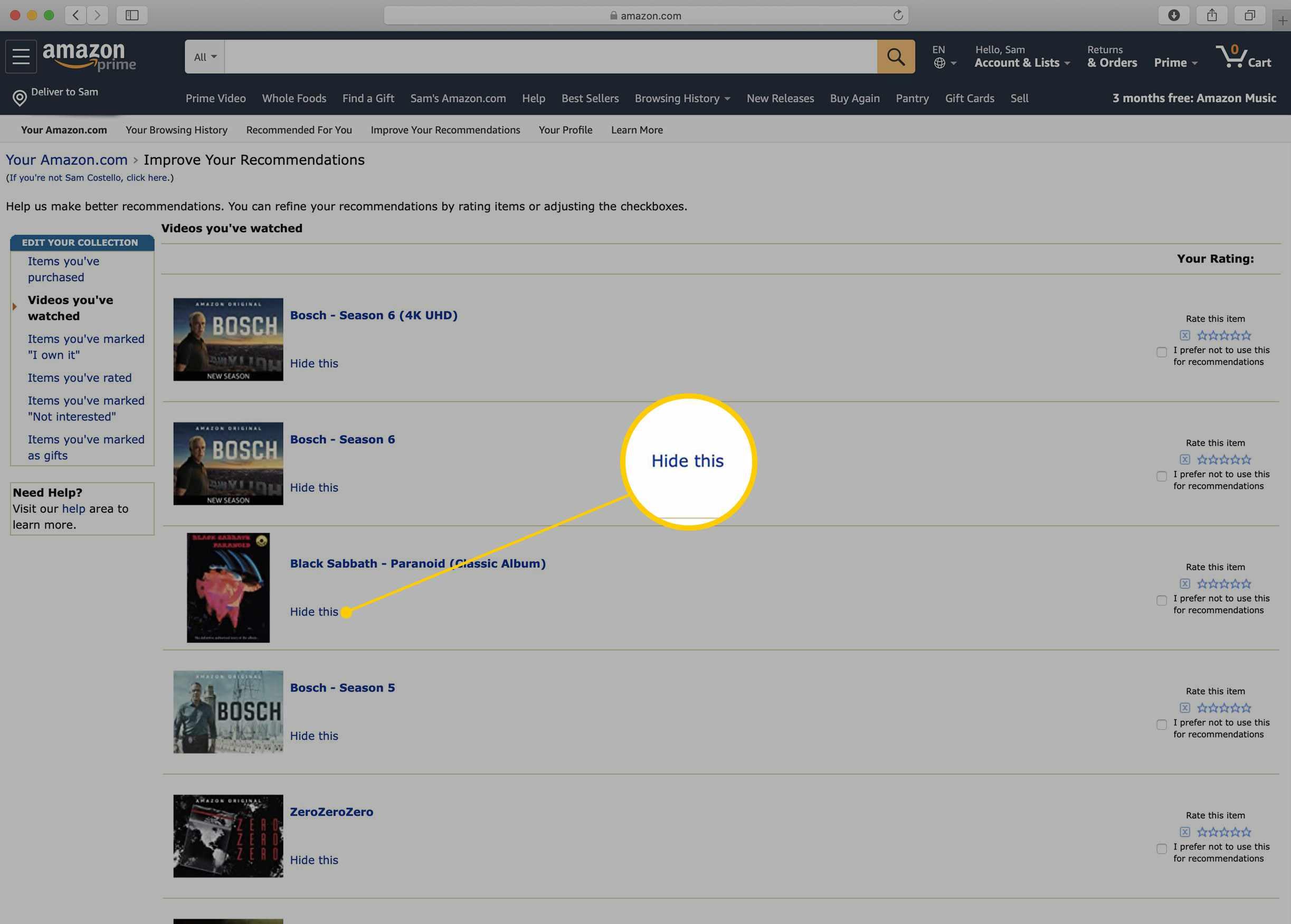 Amazon Prime Video Watch History list