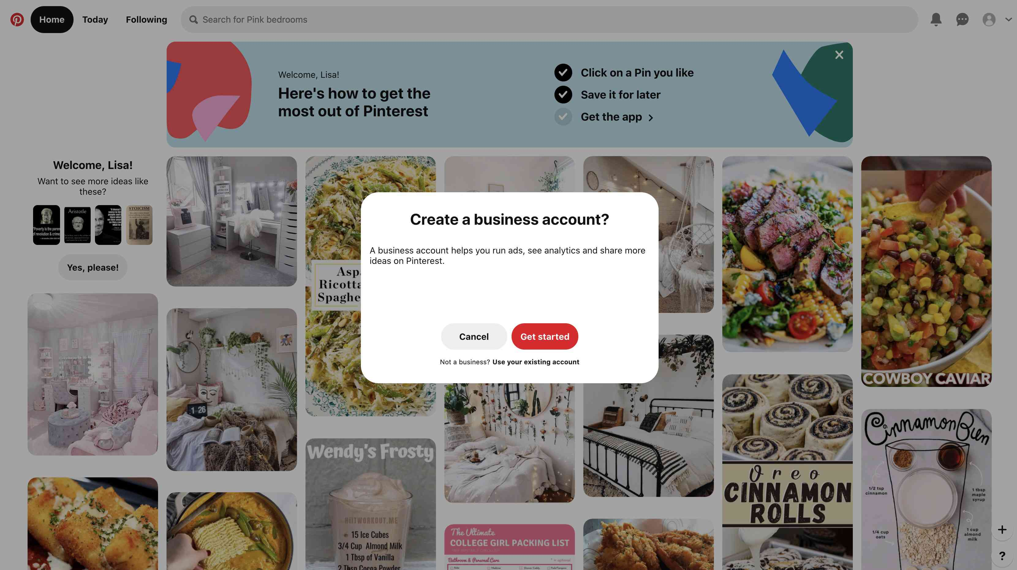 Select Add a free business account