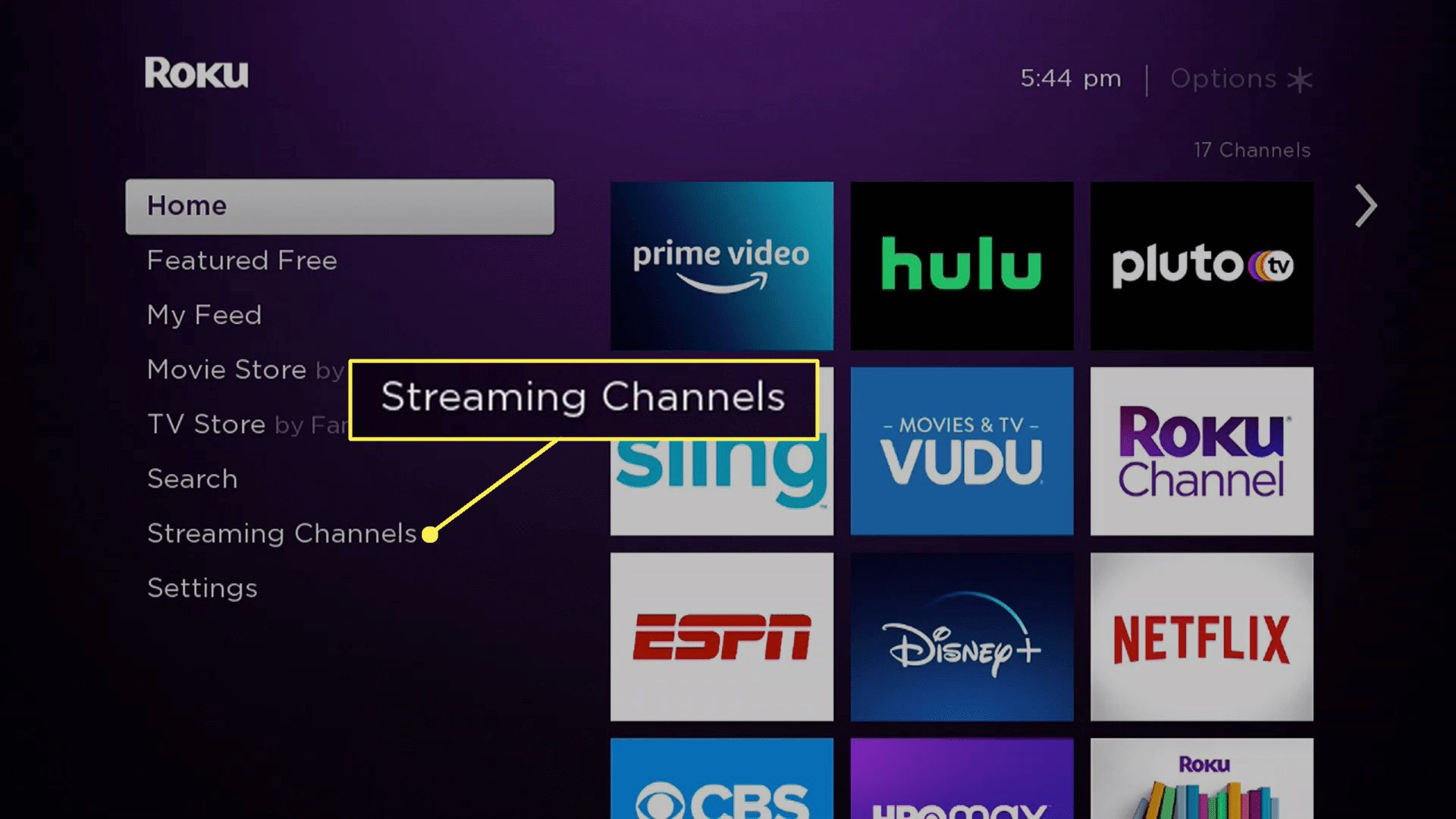 The main Roku menu with Streaming Channels highlighted.