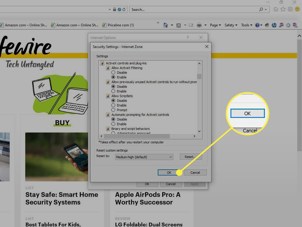 Custom Security settings in IE with the OK button highlighted