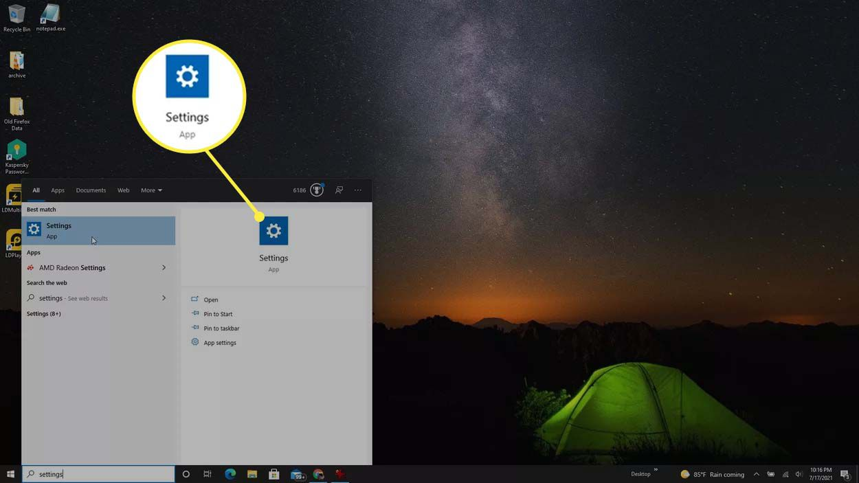 Searching for the Settings app in Windows 10.