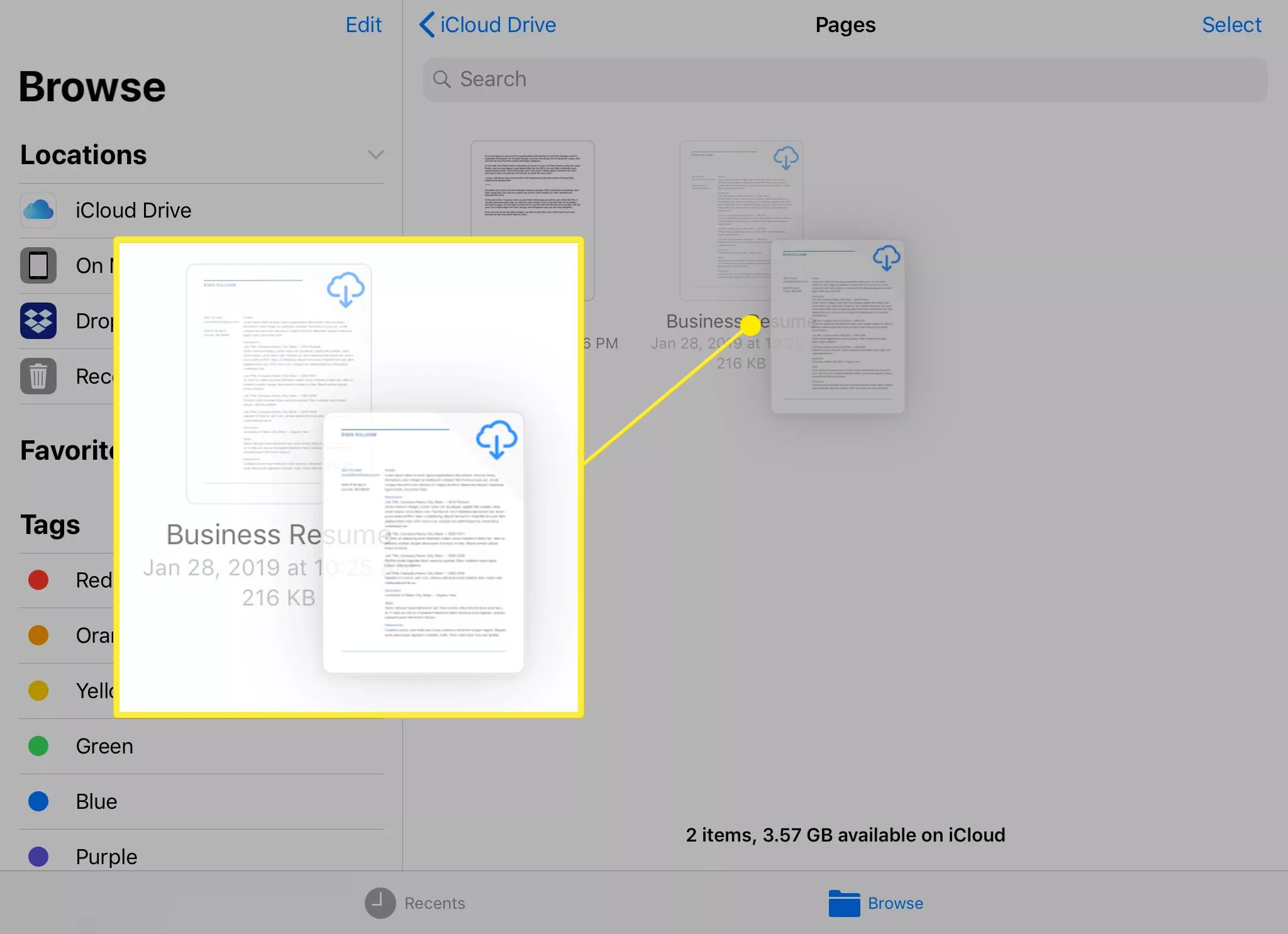 Files app with a file selected for moving