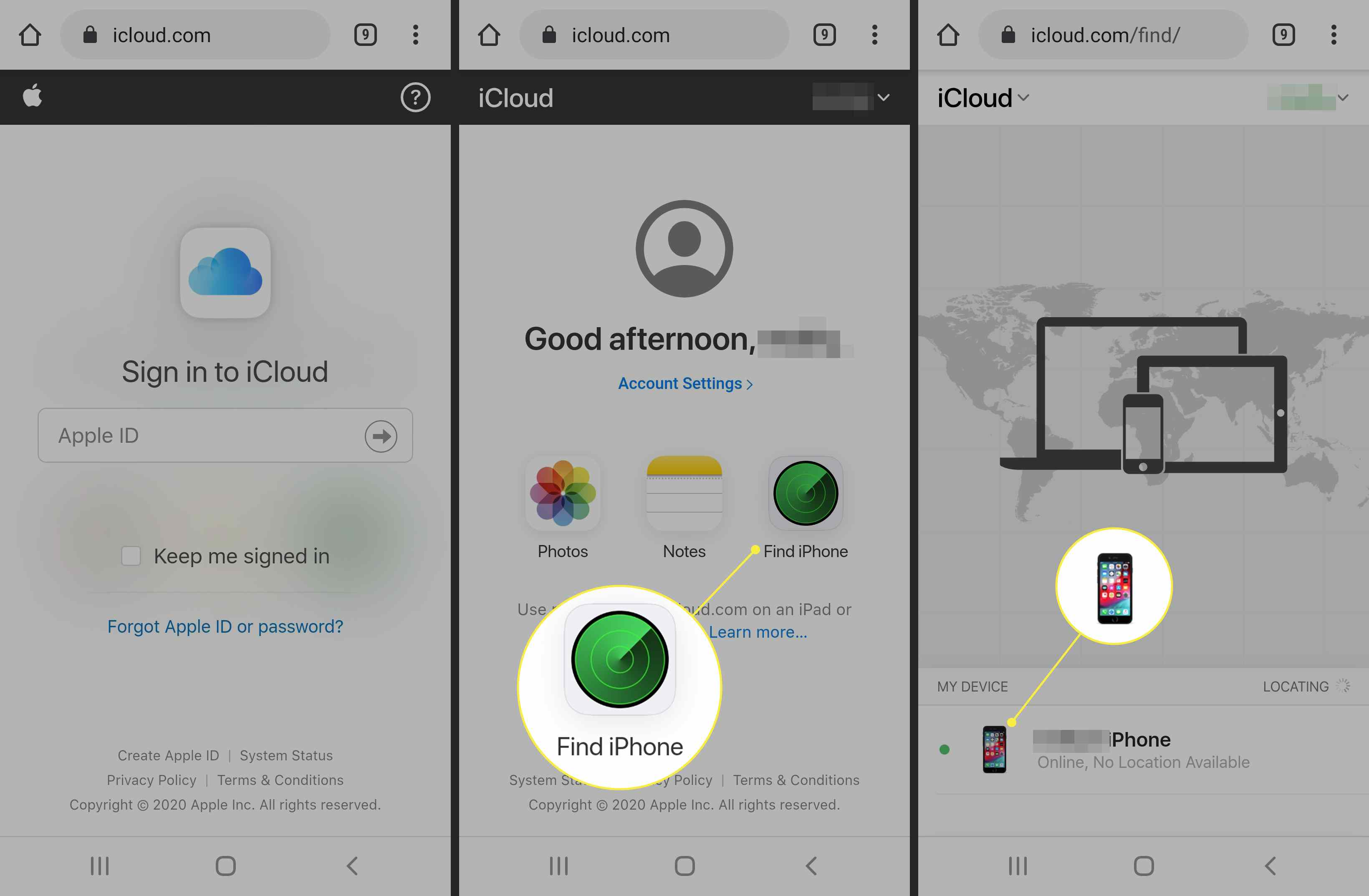 Find iPhone and a device on an Android