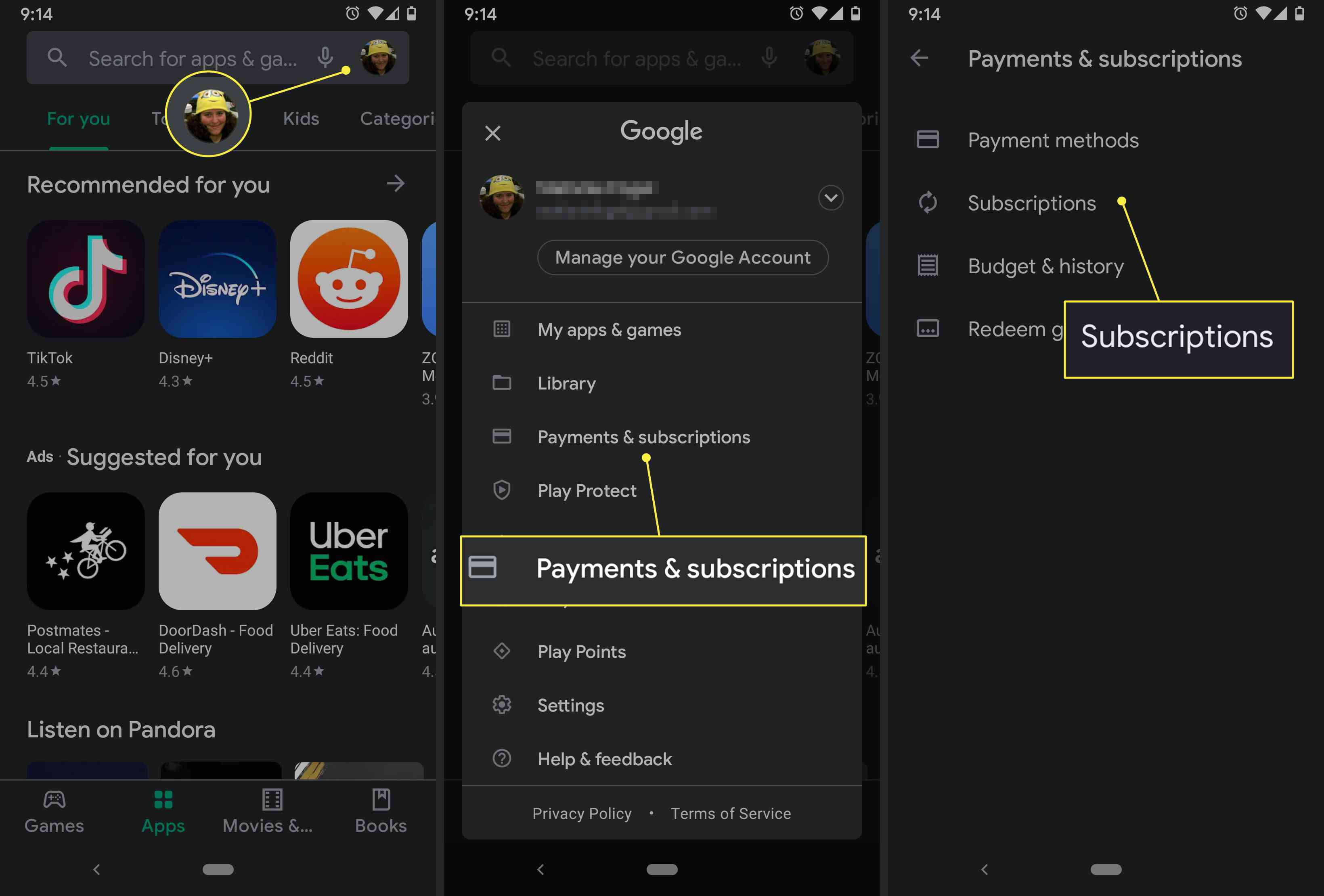 A Google Play user manages their subscriptions in the store's settings.