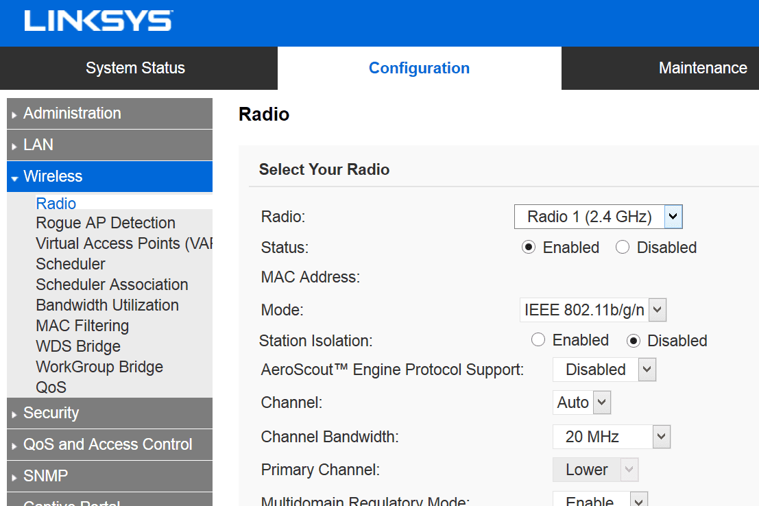 Screenshot of the radio settings in a Linksys router