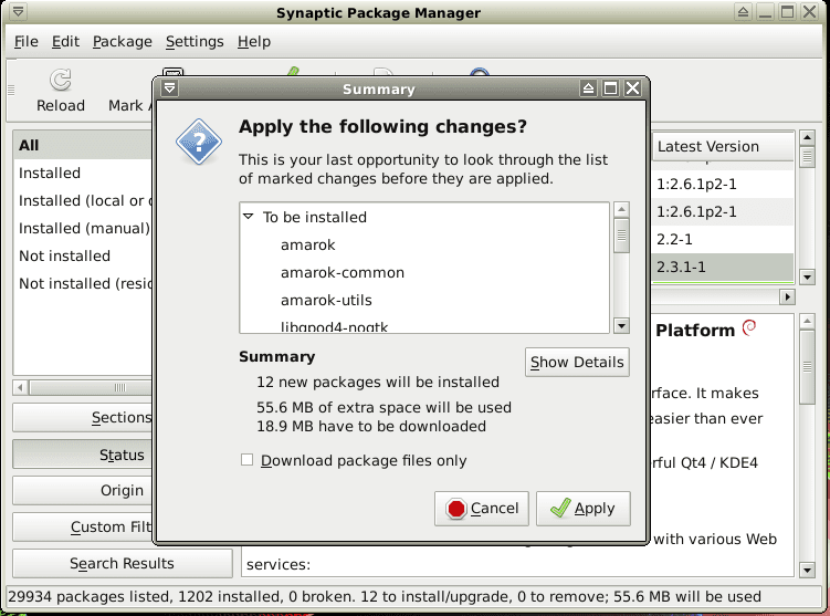 Package in the Synaptic Package Manager being installed