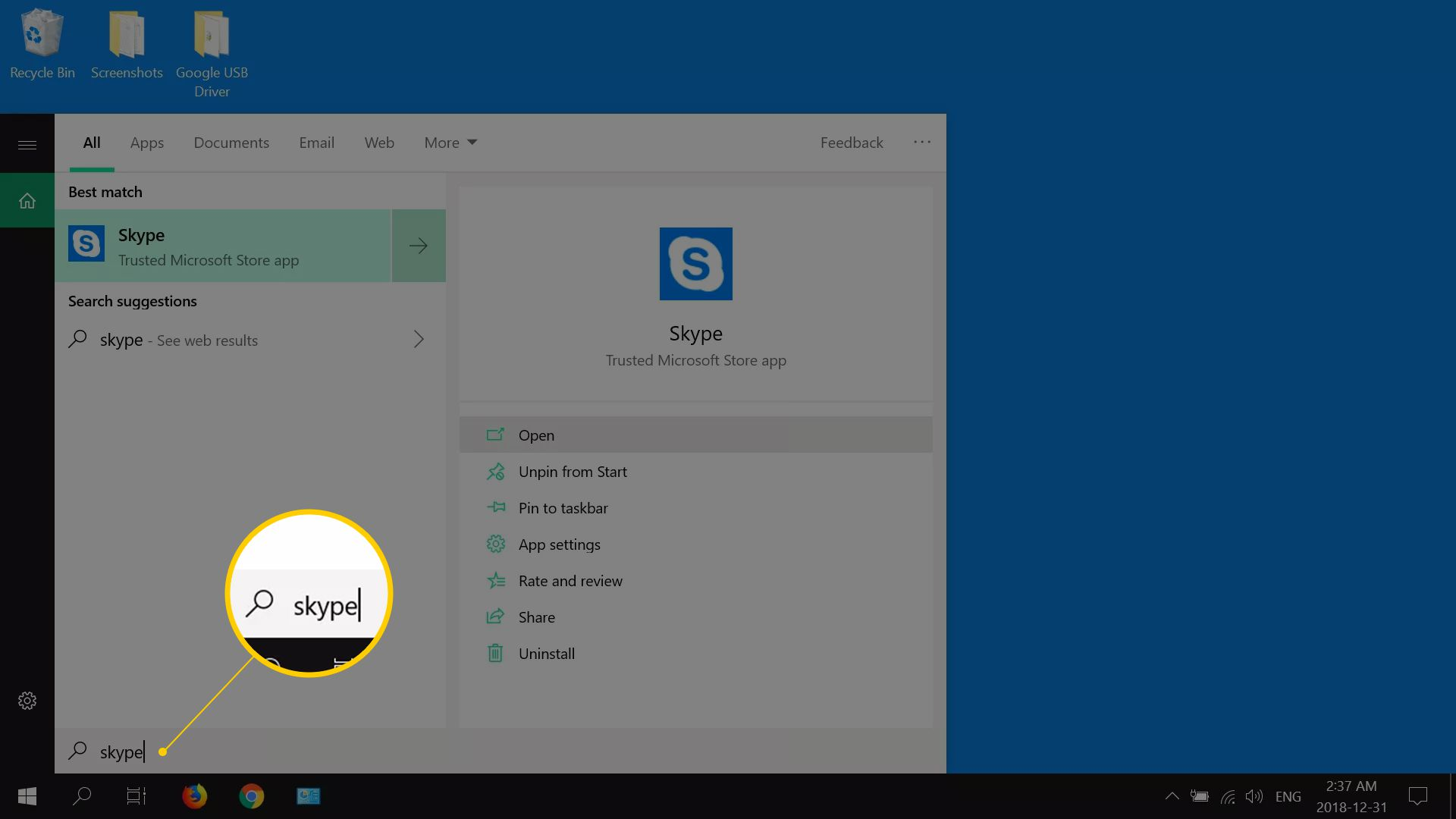 A screenshot of Windows 10 searching for Skype