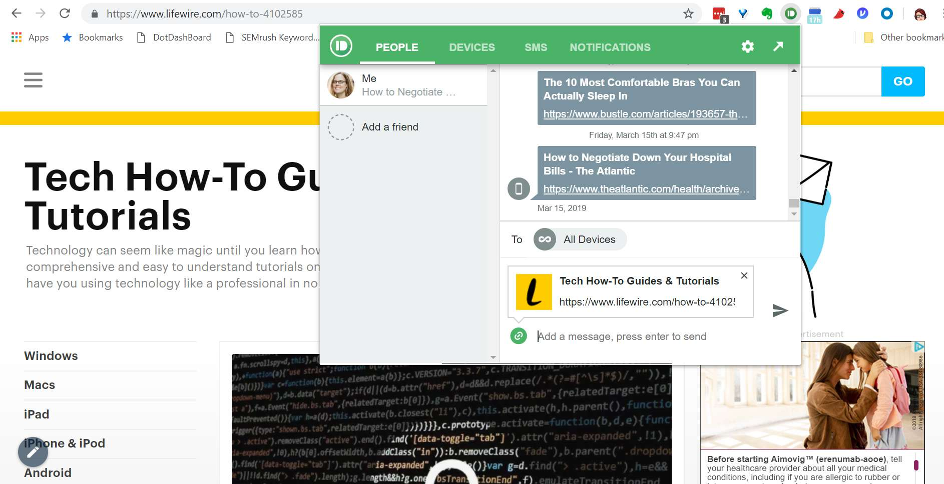 Pushbullet Chrome plug-in