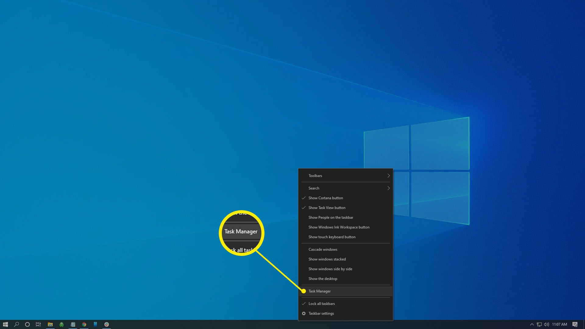 Right-click the Windows Taskbar at the bottom of your screen, then select Task Manager.