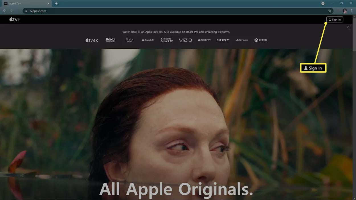 Sign In highlighted on the Apple TV website.